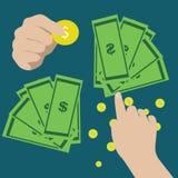 Ręki mienia pieniądze ikona i wektor Obrazy Royalty Free
