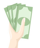 Ręki mienia pieniądze Ratuje dolarową Płaską projekta stylu ilustrację Obraz Stock