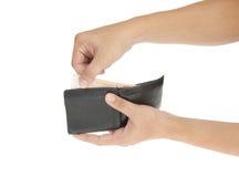 ręki mienia pieniądze stary portfel Zdjęcia Stock