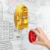 Ręki mienia przekładnia łączyć z waluta symbolu przekładnią Fotografia Stock