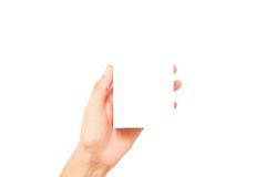 Ręki mienia pusty biały papier, pusta wizytówka w ręce Iso Obrazy Royalty Free