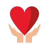 Ręki mienia serca opieka zdrowotna ilustracji