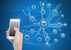 ręki mienia telefon i biznes ikon łączyć Zdjęcia Stock