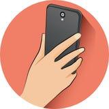 Ręki mienia telefon komórkowy w płaskim projekta stylu z pustym ekranem - ilustracja Ilustracja Wektor