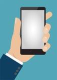 ręki mienia telefon mądrze Płaski designe Fotografia Stock
