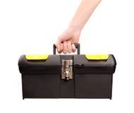 ręki mienia toolbox zdjęcie stock