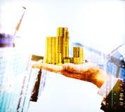 Ręki mienie ukuwa nazwę multiexposure Fotografia Stock