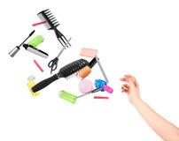 Ręki miotania narzędzia dla piękna Zdjęcia Stock