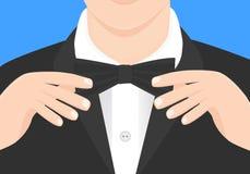 Ręki na łęku krawata ilustraci Mężczyzna mody klasyczna ilustracja Fotografia Royalty Free