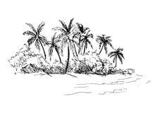 Ręki nakreślenia wybrzeże z drzewkami palmowymi ilustracja wektor