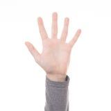 Ręki obliczenia znaka pięć palec odizolowywający Obraz Stock