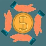 Ręki ochraniają złocistą dolar monetę royalty ilustracja