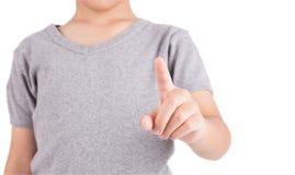 Ręki odciskanie lub macanie guzika interfejs Fotografia Royalty Free