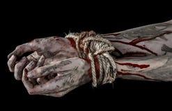 Ręki odskakują, krwiste ręki, błoto, arkana, na czarnym tle uprowadza, odizolowywają, żywy trup, demon obrazy stock