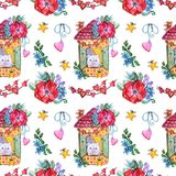 Ręki paintedWatercolor Słodki bezszwowy wzór fotografia royalty free