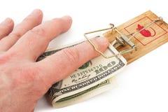 ręki pieniądze mousetrap Zdjęcie Royalty Free