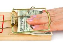 ręki pieniądze mousetrap Obraz Royalty Free