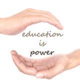 Ręki pojęcie dla edukaci jest władzą Zdjęcie Royalty Free