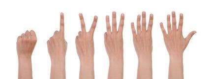 Ręki pokazują numerowy jeden odizolowywającego na bielu Obrazy Stock