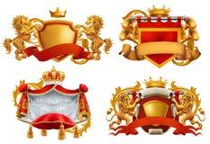 ręki pokrywają królewskiego Królewiątko i królestwo Wektorowy emblemata set royalty ilustracja