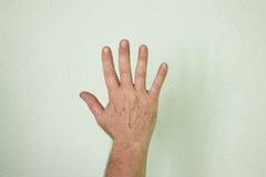 Ręki powitania męski znak fotografia Obraz Royalty Free