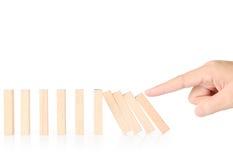 Ręki przerwy domin ciągły przewracający się Fotografia Royalty Free