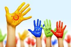 Ręki różni kolory Fotografia Royalty Free