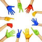 Ręki różni kolory Zdjęcia Stock
