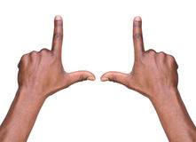 Ręki rama odizolowywająca na bielu Obrazy Royalty Free