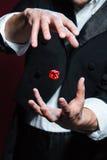 Ręki robi czerwonym kostka do gry lata w powietrzu mężczyzna magik fotografia stock