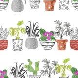 Ręki rysować akwarela domu rośliny w garnkach royalty ilustracja