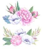 Ręki rysować akwareli ilustracje Bukiety z wiosna liśćmi Zdjęcie Royalty Free