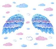 Ręki rysować błękitne akwareli chmury i skrzydła royalty ilustracja