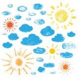 Ręki Rysować chmury i słońce tła ilustracyjny rekinu wektoru biel ilustracji