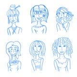 Ręki rysować doodle twarze Obrazy Stock