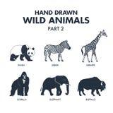 Ręki rysować dzikie zwierzę ikony ustawiać Obraz Stock