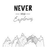 Ręki rysować góry z pisać list Nigdy zatrzymują badać Fotografia Stock