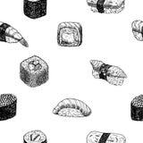 Ręki rysować graficzne rolki i suszi ilustracja wektor