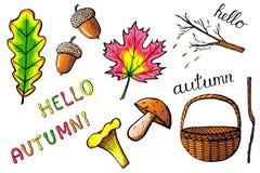 Ręki rysować jesieni ikony odizolowywać Zdjęcie Stock