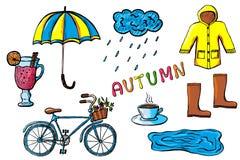Ręki rysować jesieni ikony odizolowywać Obraz Stock
