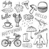 Ręki rysować jesieni ikony odizolowywać na bielu Fotografia Royalty Free