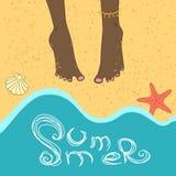 Ręki rysować nogi blisko morza Zdjęcie Stock