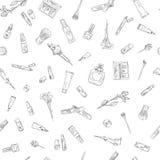 Ręki rysować piękna i kosmetyków rzeczy ustawiać Bezszwowy deseniowy tło dla projekta Zdjęcie Stock