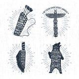 Ręki rysować plemienne etykietki ustawiać i literowanie Obraz Royalty Free