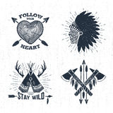 Ręki rysować plemienne etykietki ustawiać i literowanie Obraz Stock