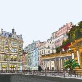 Ręki rysować serie urlopowa podróży zaproszeń karta lub flayers z kaligraficznym miasta writing Zdjęcie Stock