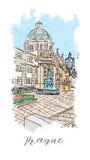 Ręki rysować serie urlopowa podróży zaproszeń karta lub flayers z kaligraficznym miasta writing Zdjęcie Royalty Free