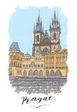 Ręki rysować serie urlopowa podróży zaproszeń karta lub flayers z kaligraficznym miasta writing Obraz Royalty Free