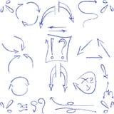 Ręki rysować strzała i symbole odizolowywający ilustracji