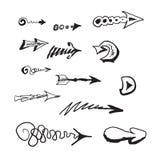 Ręki rysować strzała ustawiać royalty ilustracja